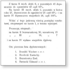 Wacław Bradel znalazł się w gronie pierwszych absolwentów szkoły Rotwanda i Wawelberga
