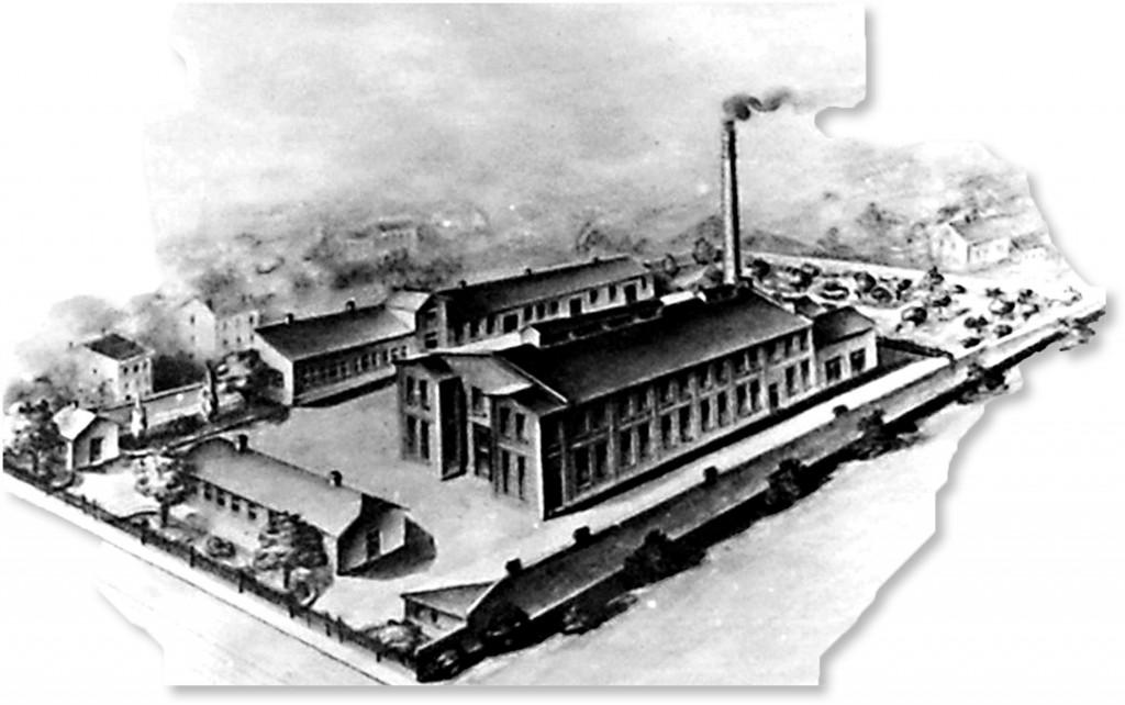 Panorama fabryki przy Grochowskiej z 1918 roku.