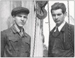 Syn Edwarda Czerwińskiego (od lewej) i Stanisław Monarski.