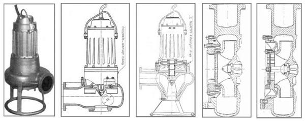 Rysunek 2. Pompa P15-V80/4A  Rysunek 3. Pompa P110-S125/4A Rysunek 4. Pompa P55-K100/4A Rysunek 5. Pompa P75-Z100R/4A Rysunek 6. Pompa P75-Z100T/4A