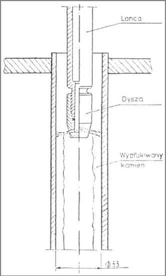Rysunek 7. Czyszczenie rury dn = 33 wyparnika zarośniętej kamieniem wapiennym.