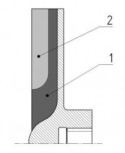 Rys. 14. Strefy przepływu  mieszaniny w wirniku pompy ( 1 – strumień                roboczy, 2 – strumień krążący ).