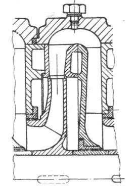 Rys. Fragment układu przepływowego pompy wirowej wielostopniowej z kierownicą łopatkową i przewałem bezłopatkowym.