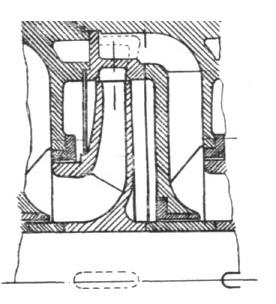 Rys. 7. Fragment układu przepływowego pompy z kierownicą o wypływie bocznym.